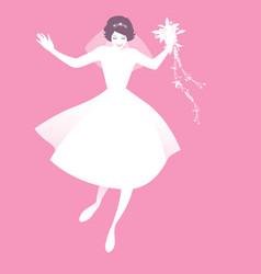 funny bride wearing retro wedding clothes dancing vector image