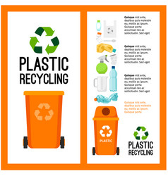 Garbage orange container info with plastic vector