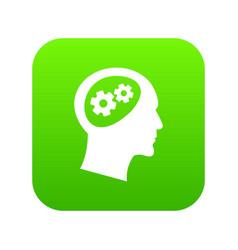 gear in head icon digital green vector image