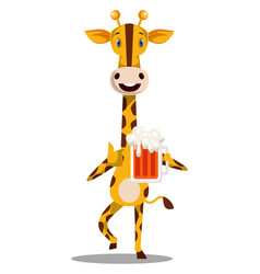 Giraffe with beer on white background vector