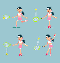 girl playing tennis set vector image