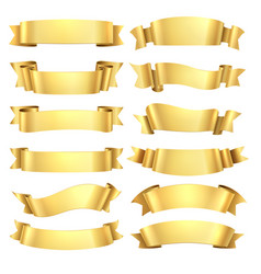 Golden ribbons congratulations banner element vector