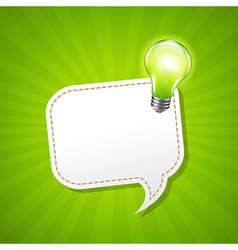 Green Sunburst Poster With Speech Bubble And Lamp vector