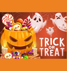 Halloween pumpkin trick or treat candies ghosts vector
