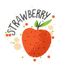 hand draw strawberry red vector image