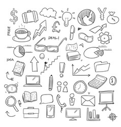 hand drawing business doodle vector image