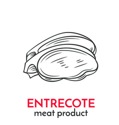 Hand drawn entrecote icon vector