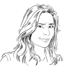 hand-drawn of irate woman monochrome vector image