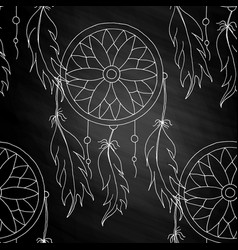 Hand to draw a seamless pattern dreamcatcher vector