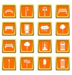 Hangar icons set orange vector