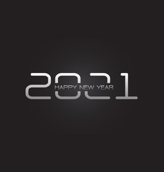 happy new year 2021 silver on grey vector image