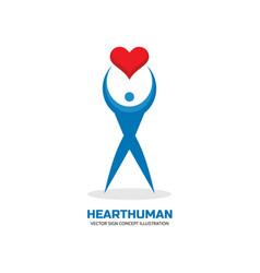 heart human character - logo template vector image