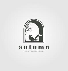 Home decor logo design bird in window template vector