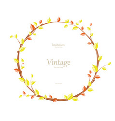 invitation card with graceful autumn wreath for vector image