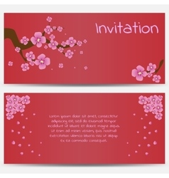 Invitation Design Template Blooming Sakura on Red vector