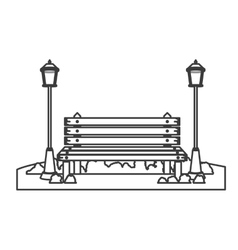 Isolated bench and lamps of park design vector