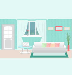 living room interior with furniture laptop vector image