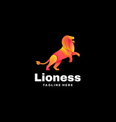 logo lioness gradient colorful style vector image