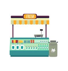 market place counter with fresh milk and dairy vector image