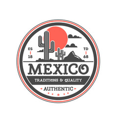 Mexican vintage isolated label with cactuses vector