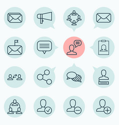 network icons set collection of message bullhorn vector image