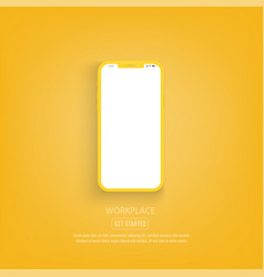 new version yellow slim smartphone with blank vector image