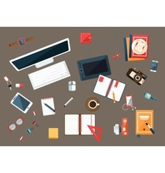 Office desk collection of utilities vector