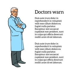 Old male doctor standing arms crossed vector