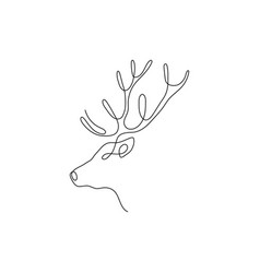 One line deer head design silhouette hand drawn vector
