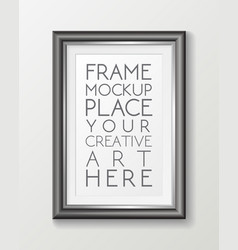 realistic vertical gray frame template frame on vector image