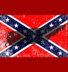 rebel civil war flag with tennessee map vector image