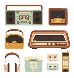 retro radio electronic technology 80s telephone vector image