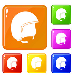 Safety helmet icons set color vector