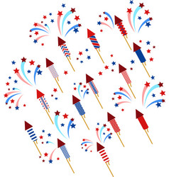 seamless pattern with fireworks usa national flag vector image