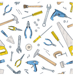 seamless pattern with manual and powered tools vector image