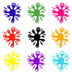 Set colored blots on white background vector