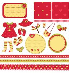 Set elements for baby scrapbook vector