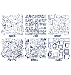 set of banners frames font arrows and business vector image