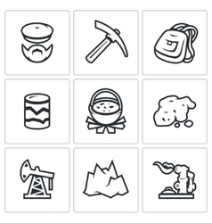 Set of Geology Icons Geologist Instrument vector