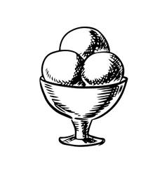 Sketch of ice cream scoops in sundae bowl vector