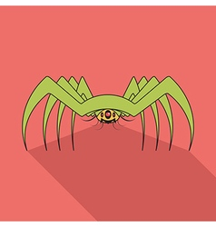 Spider flat icon with long shadow vector image