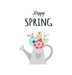 spring card with watering can and flowers vector image