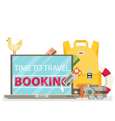 Time to travel set of travel equipment flat vector