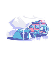 tourist camp tent and suv vector image