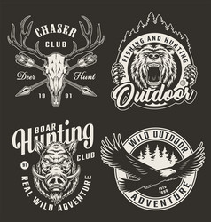 vintage monochrome hunting club logos vector image