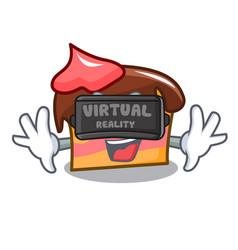 Virtual reality sponge cake mascot cartoon vector