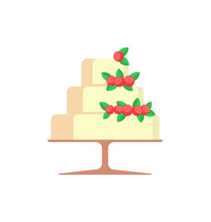 wedding cake with strawberries berries isolated vector image