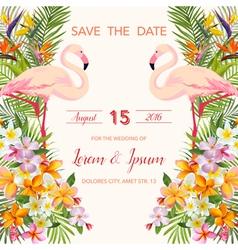 Wedding Card Tropical Flowers Flamingo vector