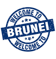 Welcome to brunei blue stamp vector