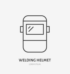Welder helmet flat line icon safety metal works vector
